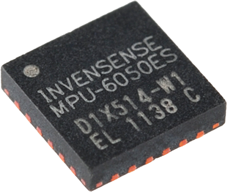 MPU-6050 Capable of 400 kHz I2C communication with the microcontroller, allowing 3-axis angle readings in <1/1000 of a second