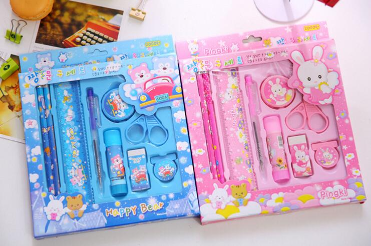 back to school students diy creative stationery kids gift candy colored cute stationery set for girls promotion