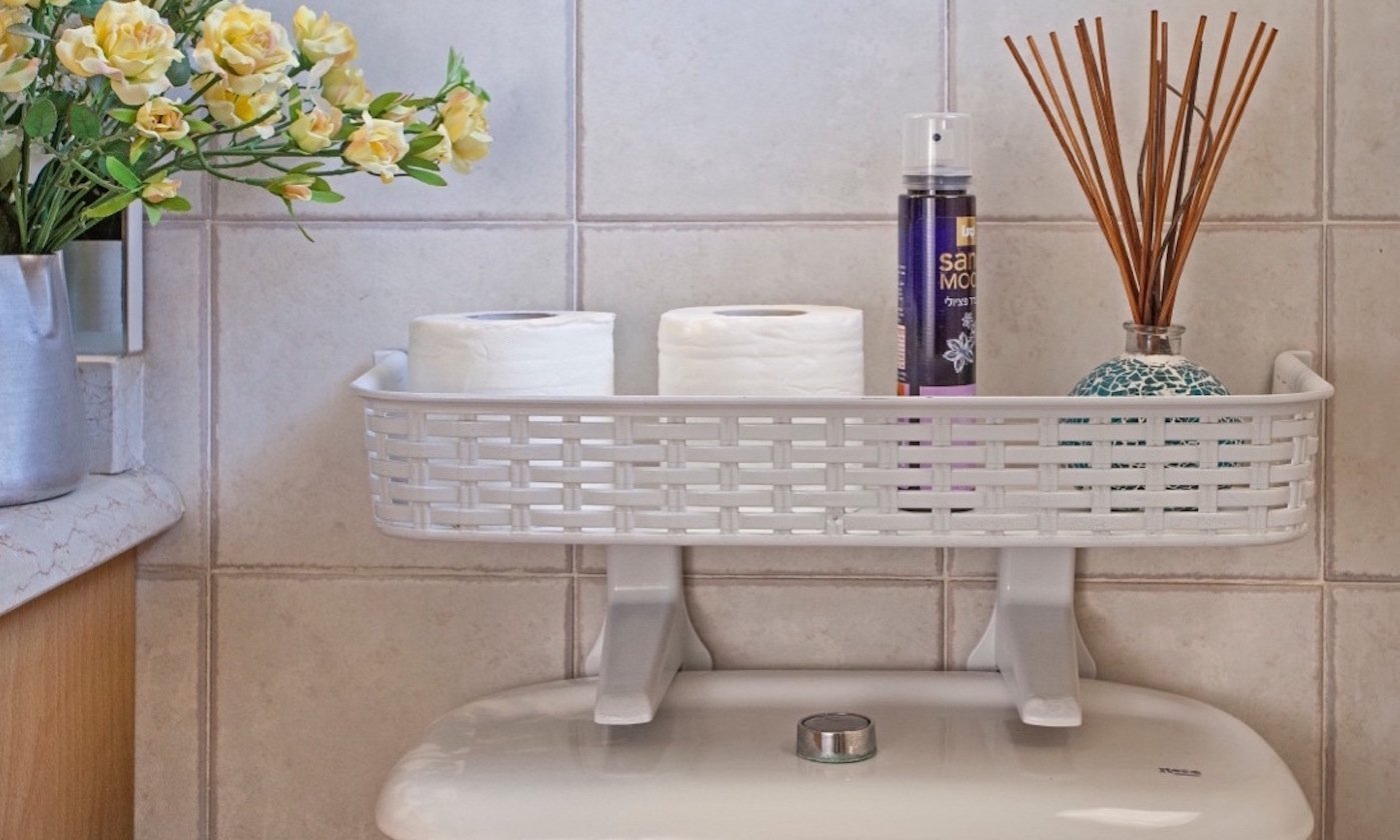 Easy Fit Toilet Top Bathroom Shelf [White]