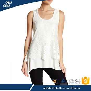 Meidaili Wholesale Womens White O-neck Front Lace Tank Top Women
