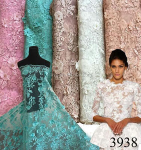 2017 new fashionable design 3d flower wedding dress embroidery lace African french net tulle lace fabric with beads for garment