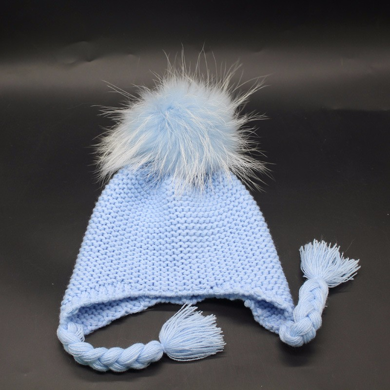 Top quality OEM/ODM selling pom pom winter hat kids fur ball knitting beanie