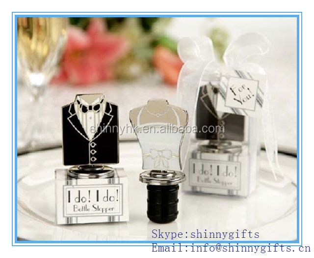 Best wedding gifts souvenirs cute formal dress shape wine bottle stopper and box wedding gifts