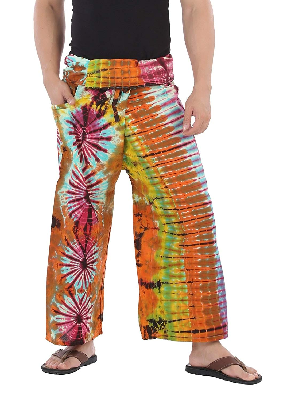 54dae36d0ea9b Get Quotations · CandyHusky Hand Tie Dye Fisherman Wrap Pants Wide Leg Yoga  Pants