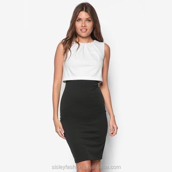 82ee40a89 D460 nuevo llegado moda casual mujeres vestido blanco y negro vestidos más  tamaño de ...