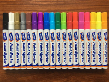 18 colors oil base ink permanent paint marker pen for metal /glass/ wood
