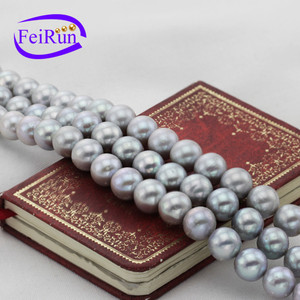12mm AA round large size dyed silver grey color different freshwater bulk pearl beads