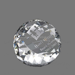 Wholesale engraved diamond facet crystal paperweight showpieces for OEM logo