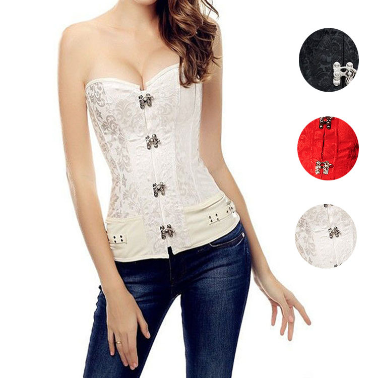 ce6fab7fac0 Get Quotations · 2015 Leather Corset Top Waist Training Corsets Black White  Red Sexy Waist Trainer Corset Corselet Overbust