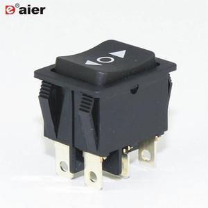 Black 16A 250VAC DPDT 6 Pin ON OFF ON Momentary Rocker 3 Way Auto Switch