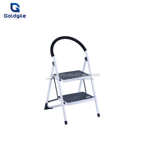Goldgile 2 step steel ladder with en131 approved wide step ladder steel folding step ladder