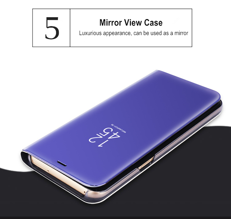 Luxury Electroplated Smart Sleep Mirror With Chip Holster Phone Case For Samsung Galaxy S9 S9+ S8 S8+