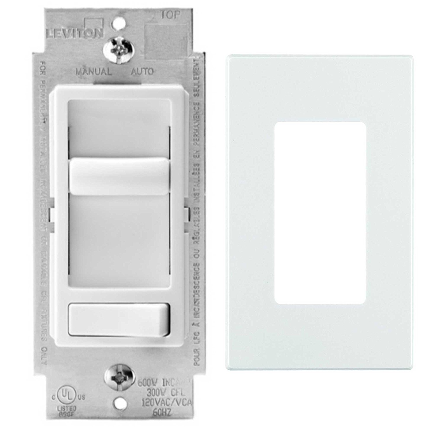 Leviton 06674-P0W SureSlide 150-Watt LED & CFL/600-Watt Incandescent Dimmer With Snap On Wall Plate, White
