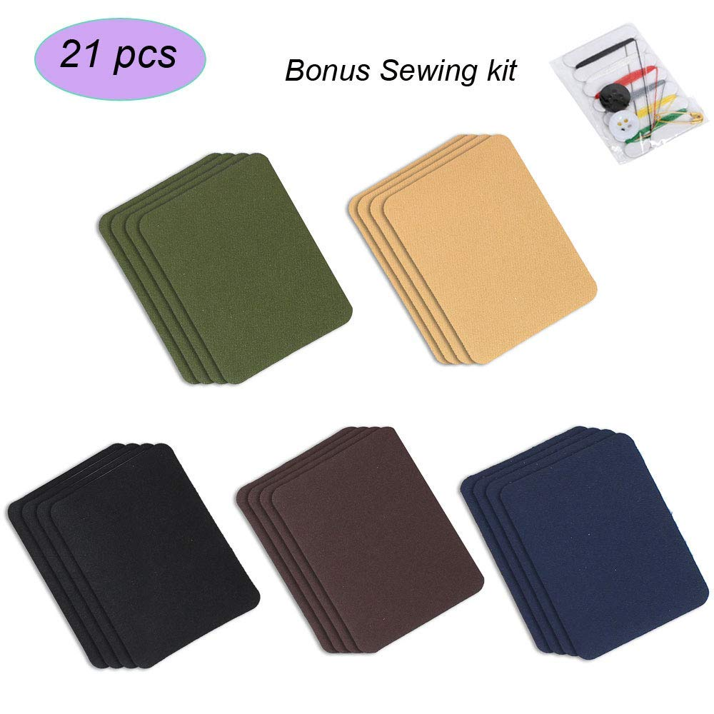 "iLosga 21Pcs Iron On Patches for Clothing Jeans Iron-On Patch DIY Embroidered Applique Craft Dark Assortment Bonus Sewing kit Included (5 Colors, 4.9"" x 3.7"" Iron-On Patches)"