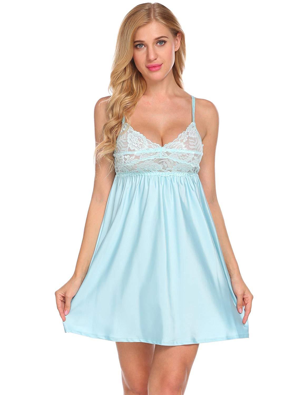 d32f2c75a1a08 FANEO Women Satin Chemise Nightgown Lace Trim Nightie Nightdress Sleepwear  S-XL