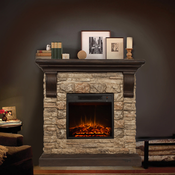 Faux Stone Fireplace Mantle With Digital Temperature Adjustment And