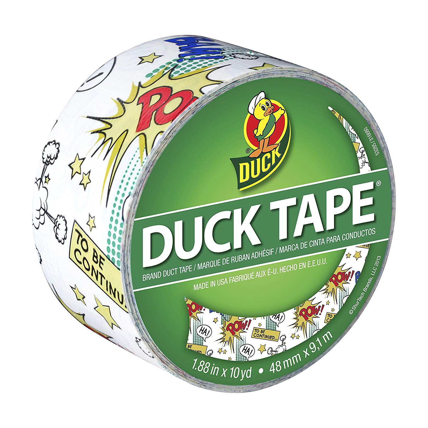 Duck Brand 282223 Printed Duct Tape, Comic Book, 1.88 Inches x 10 Yards, Single Roll