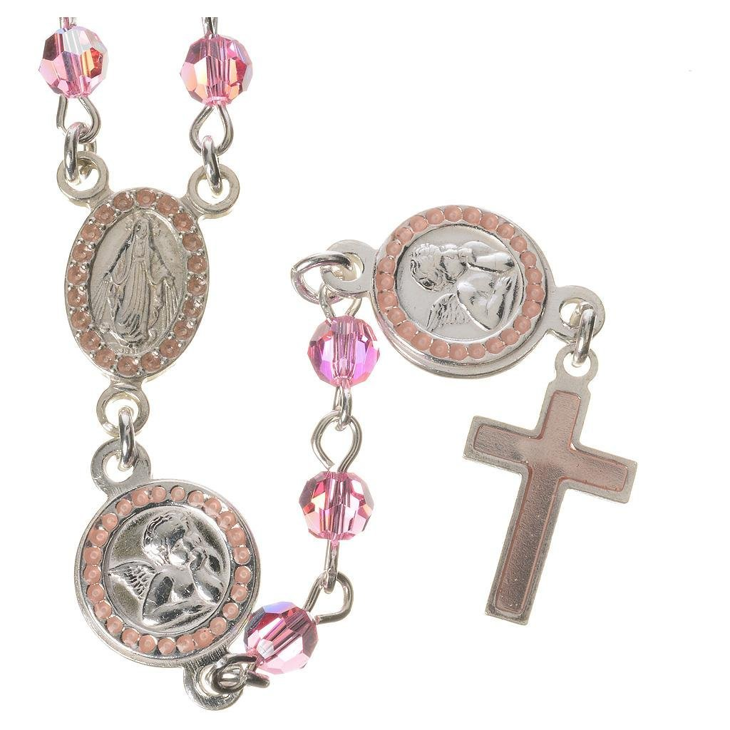 Rosary beads in 800 silver pink Swarovski, Guardian Angel
