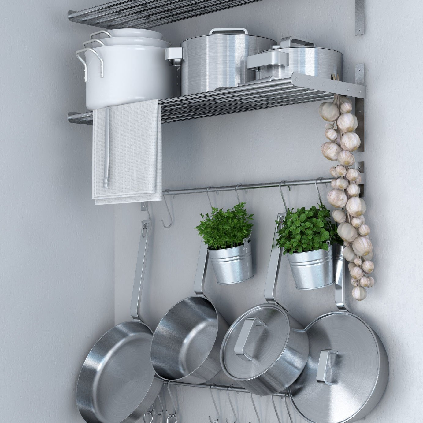 Buy Ikea Grundtal Kitchen Shelf Rail and Hooks Set Stainless Steel ...
