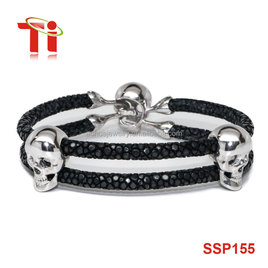Hot Fashion Stainless Steel Men Stingray Leather Skull Bead Bracelet