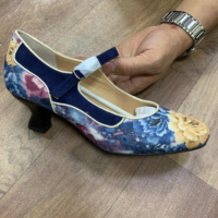 Ladies Pump Shoes Thin Heels Cotton Fabric Upper Floral Print Women's High Heel Pumps