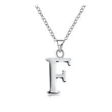 Letter F Pendants Capital Initial Necklace Plain Uppercase Choker Minimalist Brass Silver Color Women Collares Necklace 970