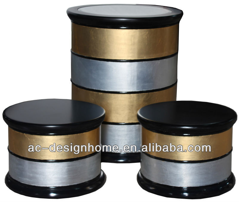 S/3 ROUND BLACK/GOLD/SLIVER WOODEN NEST STORAGE