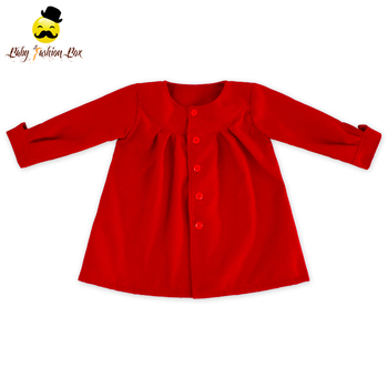 ecde20b2f Baby Clothes Winter Woolen Red Fancy Pleats Winter Jacket Kids Coat