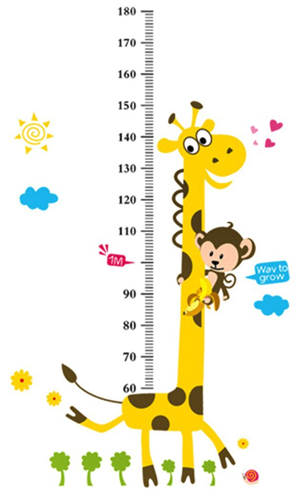 BleuMoo Kids Height Chart Wall Sticker home Decor Cartoon Giraffe Height Ruler Home Decoration room Decals Wall