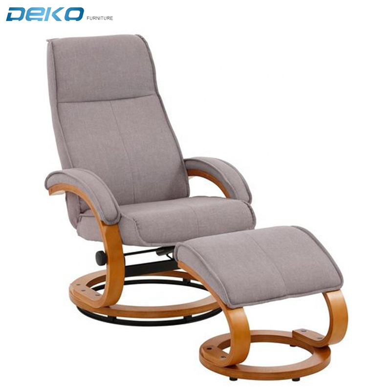 swivel fabric TV chair with ottoman