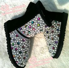discount Free shipping Children rhinestone Colored pearls snow boots handmade children princess style fashion Warm snow