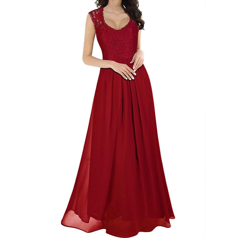 fc19541291c4 Get Quotations · Zainafacai Fashion Women's Classic V-Neck Vintage Wedding Maxi  Dress Formal Bridesmaid Gown