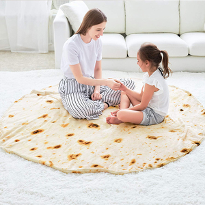 2019 super soft manufacture pizza round flannel fleece taco tortilla burrito blanket for adult
