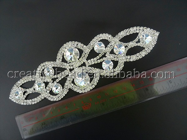 Grande strass applique cristallo applique fascia di nozze applique
