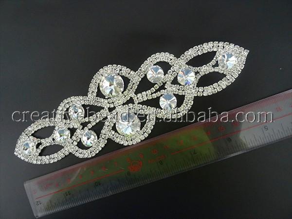 Grande strass applique cristallo applique fascia di nozze
