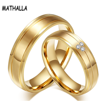 New Style Gold Plated Stainless Steel Couples Rings for Men Women Wedding Charm Rings For Lovers Engagement Jewelry