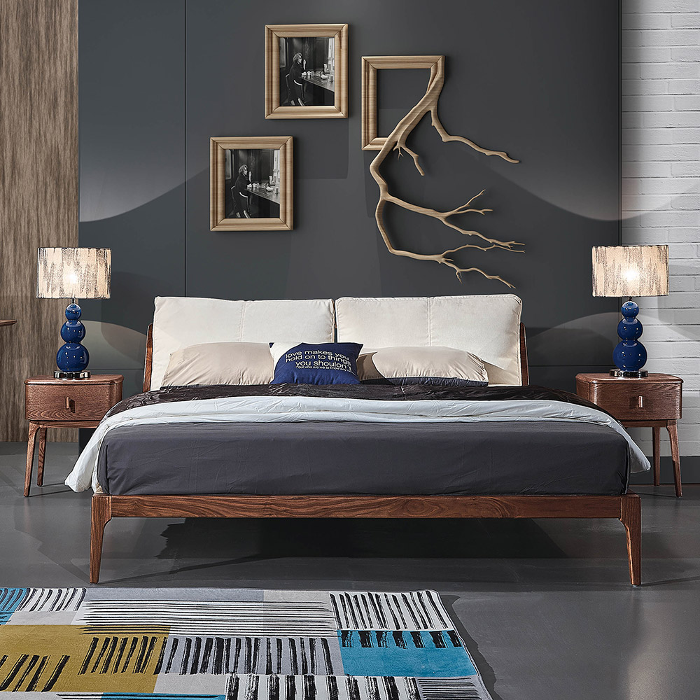 Italian Luxury Design Bedroom Furniture Bed Frame Ash Wood Back Solid High Quality Pu Leather Home Furniture Bedroom Set Modern