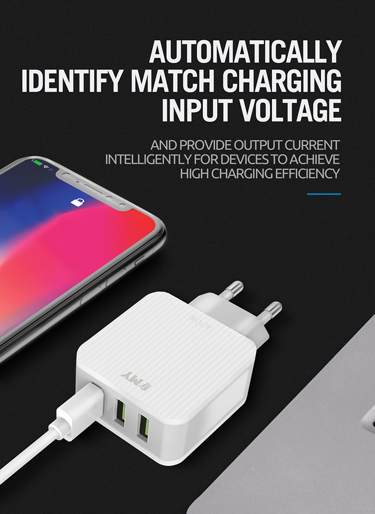 Guangzhou emy company low price to sale chargers mobile phone 3.1 amp home wall charger