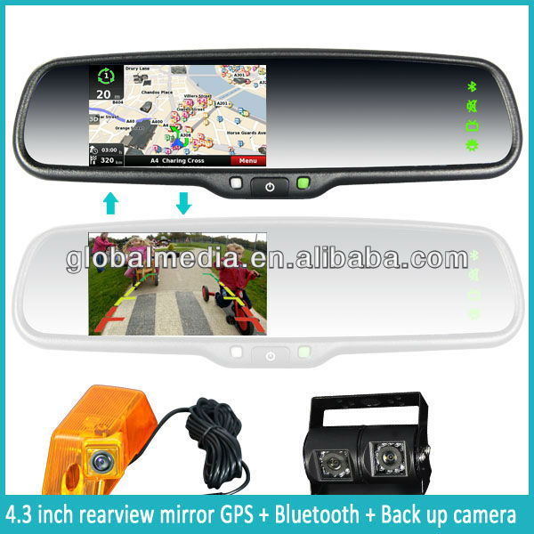 oem car gps rearview mirror with bluetooth, fm transmitter and handsfree car kit from china supplier