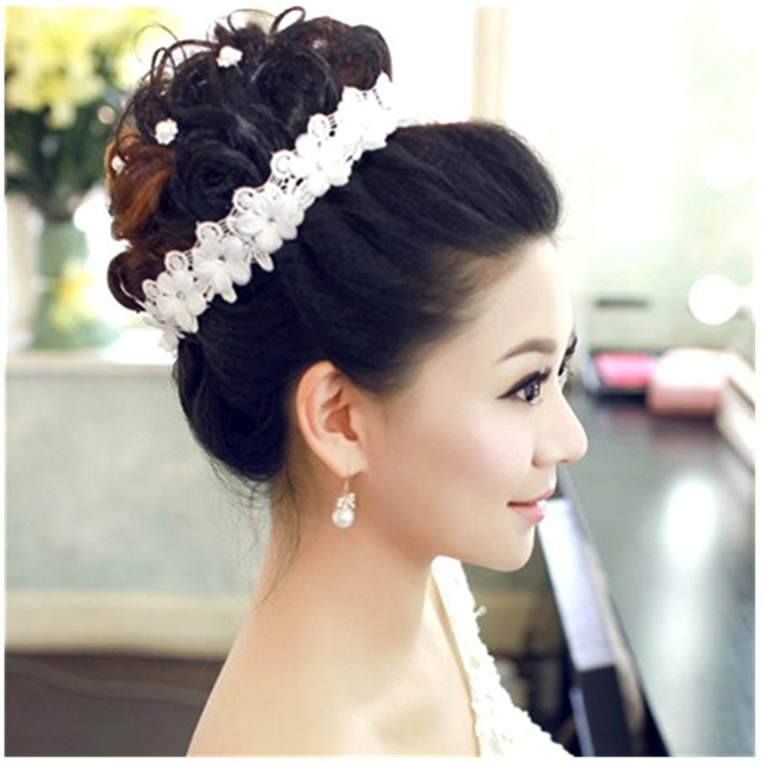 Casualfashion Bridal Lace Flower Rhinestones Crystal Wedding Headband Tiara