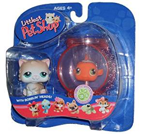 Littlest Pet Shop Pet Pairs Portable Collectible Gift Set - Persian Cat (#129) and Clown Fish in the Fish Bowl (#130)