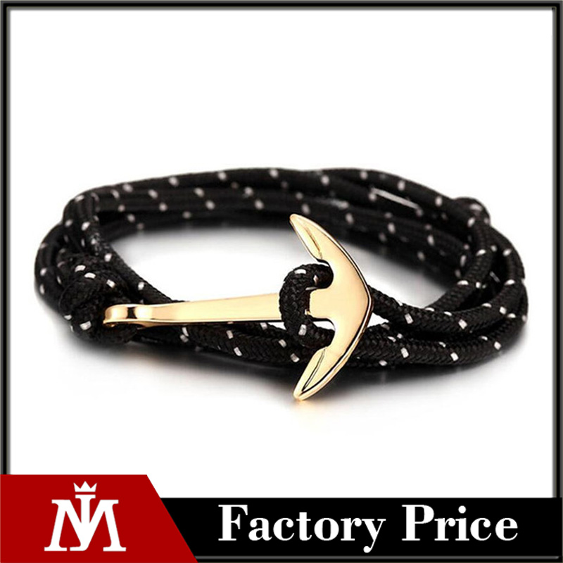 Hot Sell Fashion Women Men Jewelry Plated Gold Anchor Bracelet Twining Rope Chain Bracelets