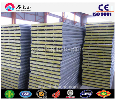 warehouse wall and roof EPS/PU rock wool sandwich panel board used for steel house