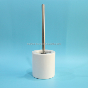 white bathroom decorative round porcelain toilet brush holder,ceramic toilet brush holder