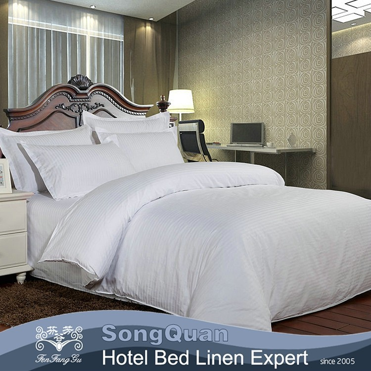 10 years experience plain stripe stain jacquard customized hotel bedding set bed linen set