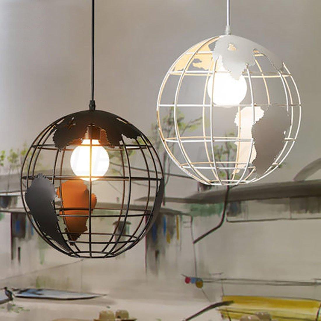 LEDIARY Black Round Earth Shape Home Modern Desigh Pendant Lamp Art Hanging Lamp Droplight for Home,Shop,Bar,Restaurant,One Head,E26 Holder,White Color,30CM