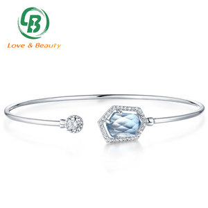 Wholesale custom bangle gold plating 925 Sterling silver bangle with gemstone