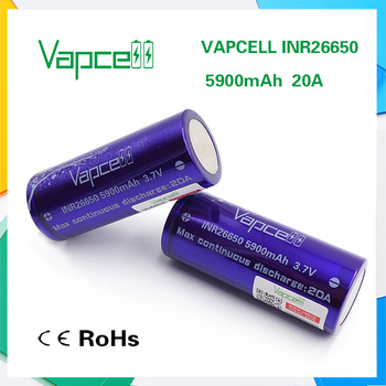 Vapcell purple INR 26650 battery in rechargeable 5900mah batteries 20A 3.7v cylinder lithium li-ion akku with battery case