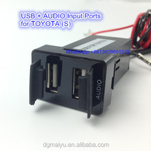Dual USB Charger/Audio Port Interface for 07-14 Toyota Camry Blank Switch Hole