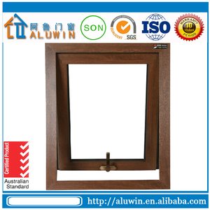 Wood grain aluminum awning window with double tempered glass